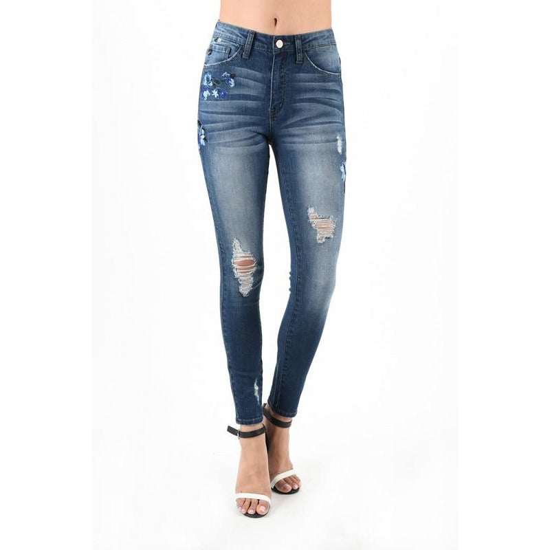 Floral Embroidered Thigh Denim-Blue