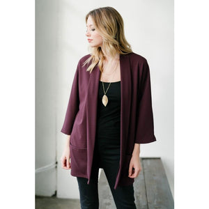 Solid Open-front Cardigan With Pockets