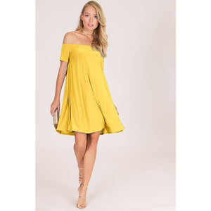 Solid Off Shoulder Swing Dress