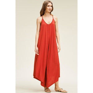 Solid Knit Wide Leg Jumpsuit-Red