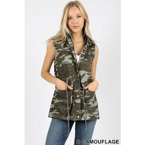 Camo Hooded Military Style Vest