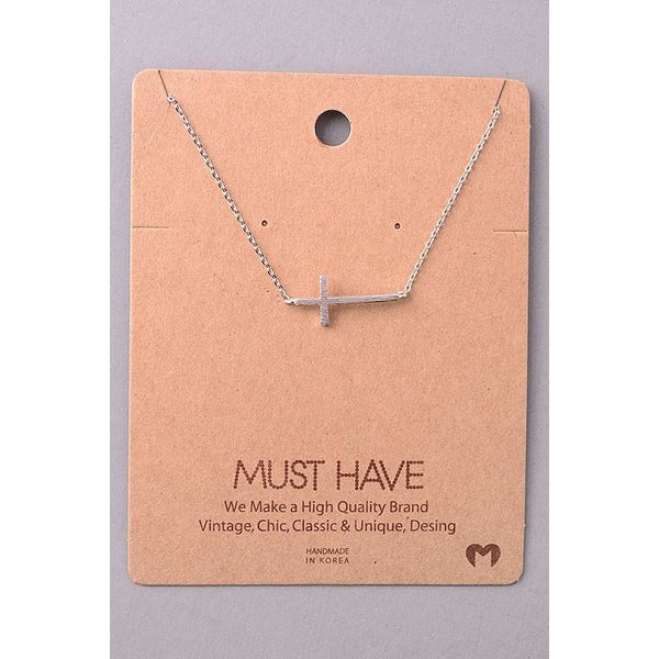 Sideways Cross Must Have Necklace