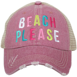 BEACH Please Trucker Hat by Katydid
