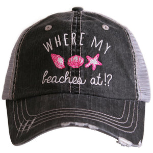Where my Beaches at Trucker Hat by Katydid
