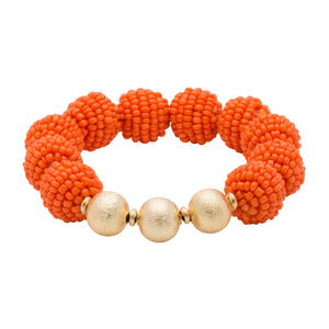 Fanfare Game Day Seed Bead Stretch Bracelet