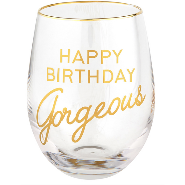 Stemless Birthday Wine Glasses