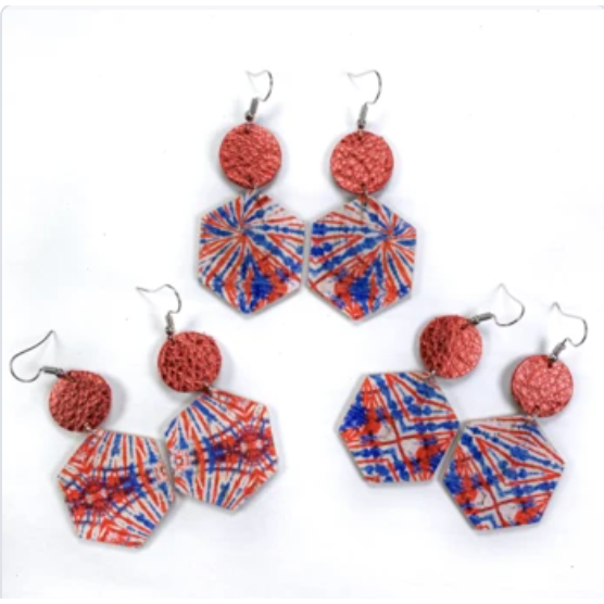 Red, White & Blue Tie Dye Hexagon Earrings