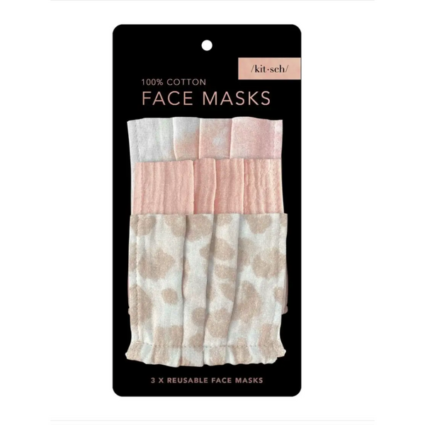 Kitsch Blush Cotton Reusable Mask - 3 pack