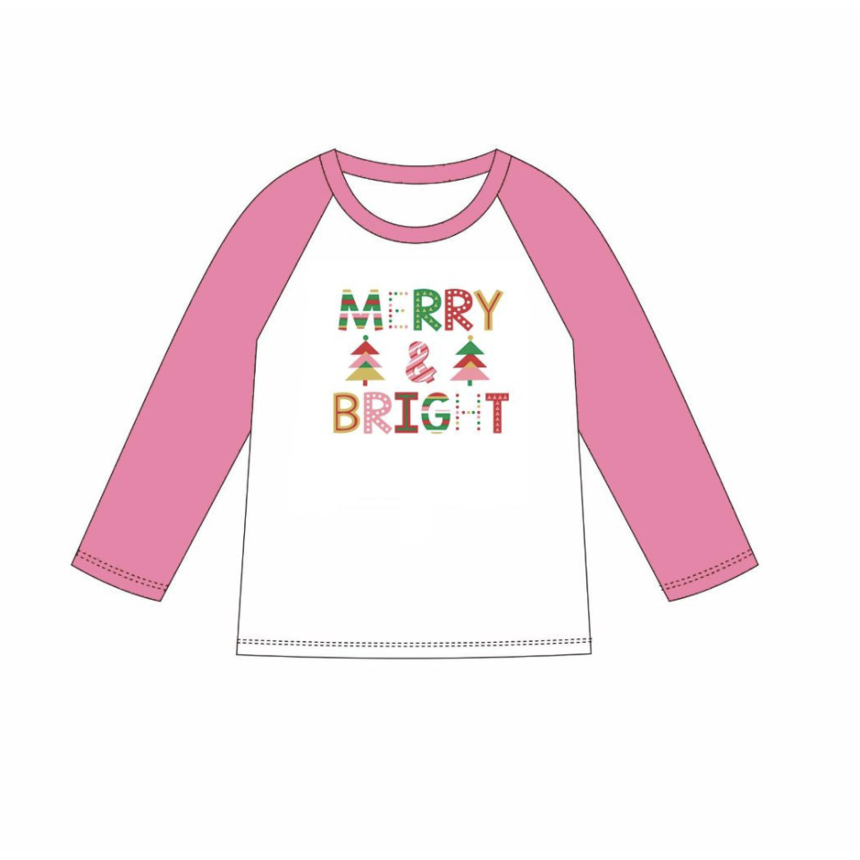 Merry & Bright Vintage Raglan Shirt - Youth
