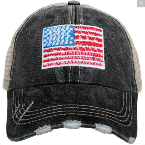 American Flag Trucker Hat by Katydid