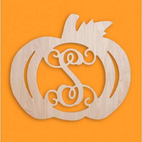 Wood Initial Pumpkin