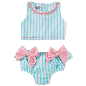 Aqua 2 Piece Swimsuit with Bows