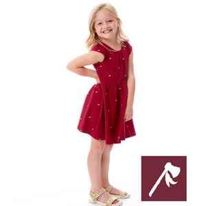 Girls Mini Tomahawk Dress-Garnet