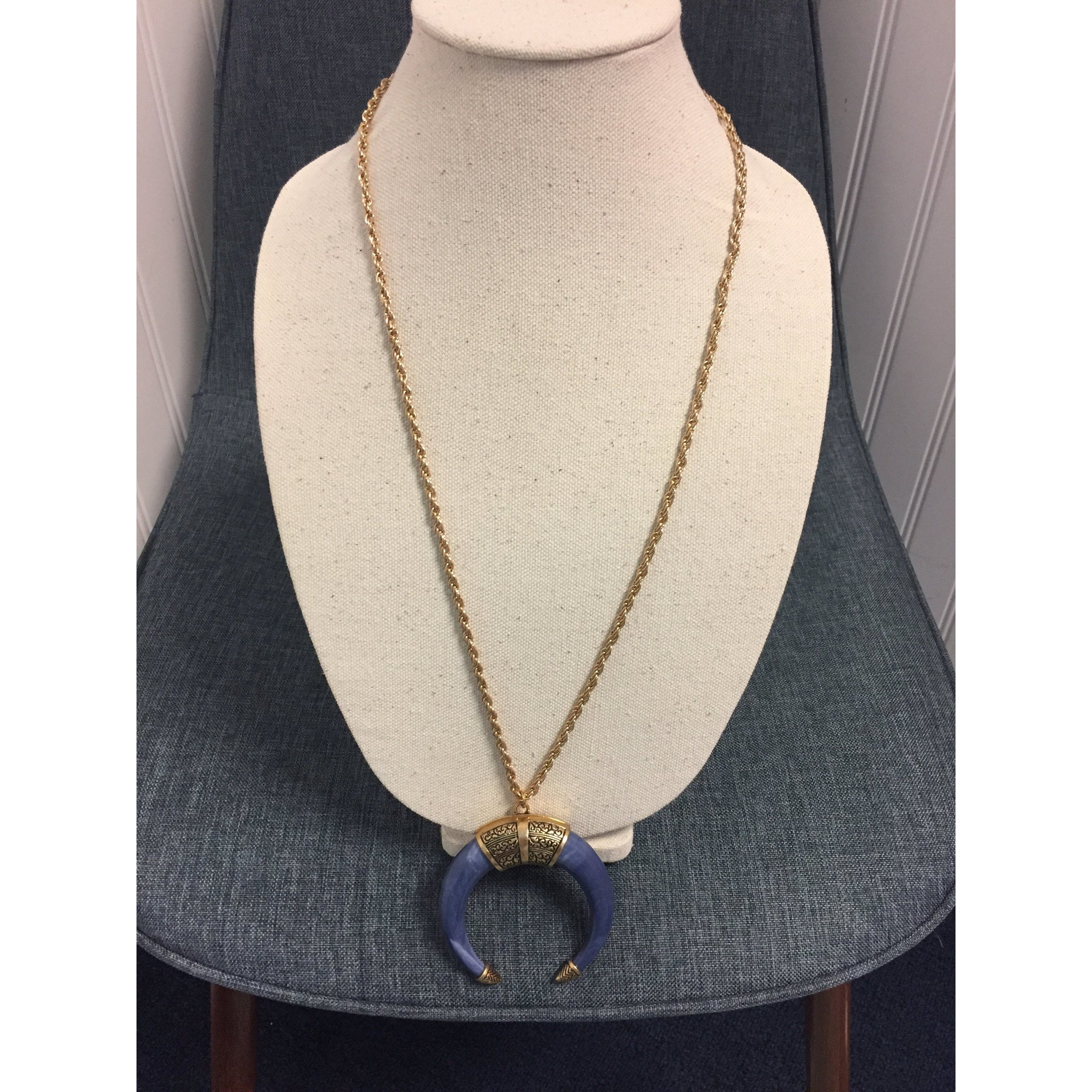 Blue Horn Necklace