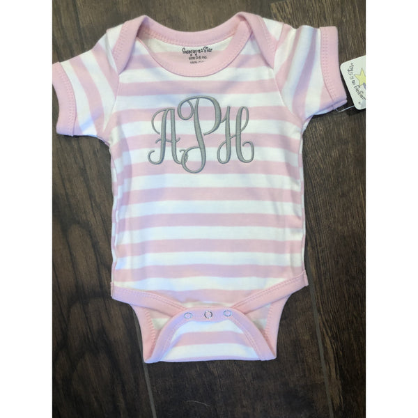 Monogrammed Striped Onesie