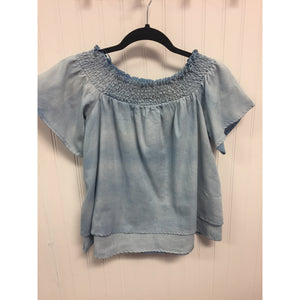 Off the Shoulder Two Tone Denim Shirt