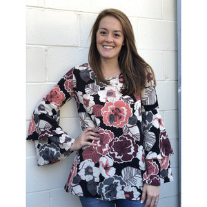 Floral Tunic w/ Double Ruffle Sleeve