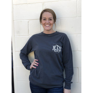 Comfort Colors Long Sleeved Monogrammed Pocket Tee