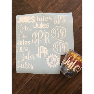 Personalized Vinyl Sheet -- Monogram & Name