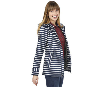 Navy Stripe New Englander Zip Up Rain Coat