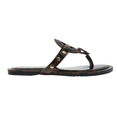 Patent Leopard Circle Design Sandal-Brown