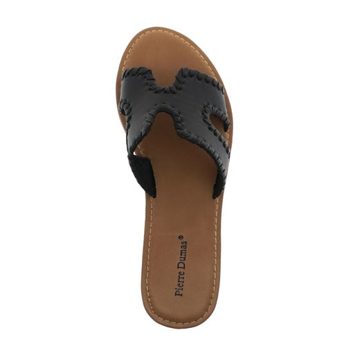 Flat Slide w/Stitch Detail-Black