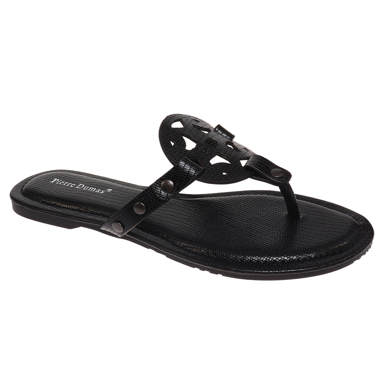 Circle Design Black Croc Sandal