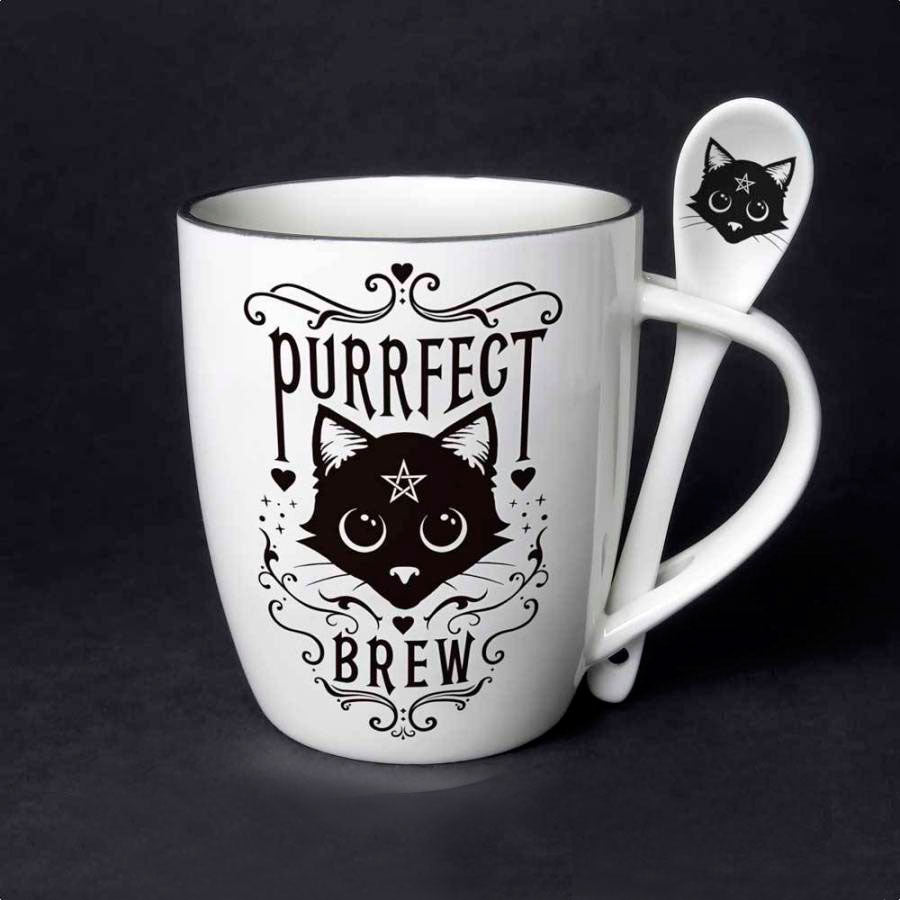 Purrfect Brew Large Mug and Spoon Set