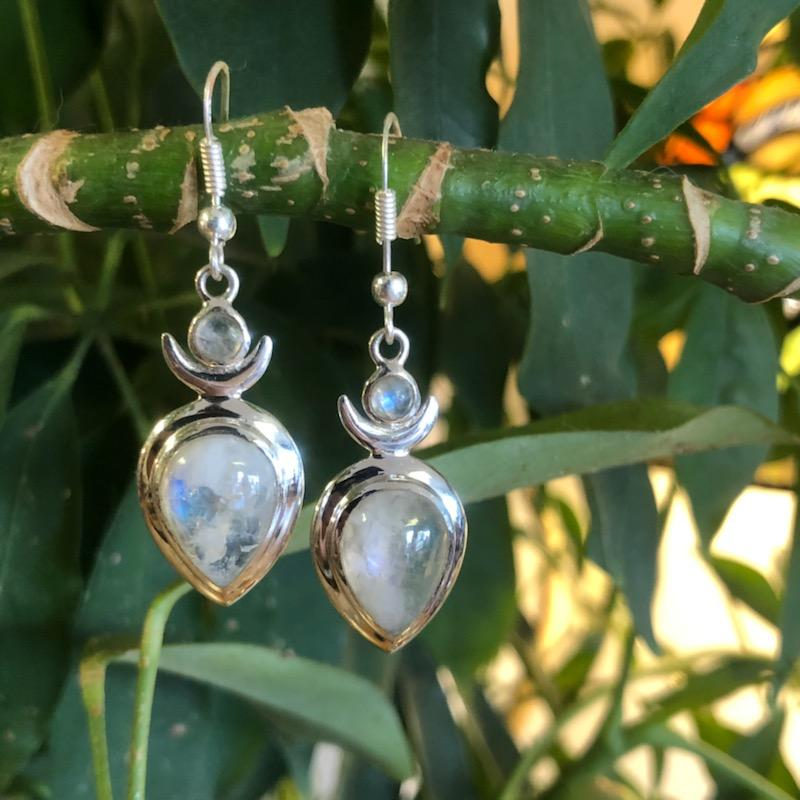 Sterling Silver and Rainbow Moonstone Drop Earrings (Goddess, Empowerment, Honoring the Feminine and the Divine)
