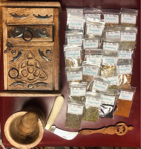 Green Witch Starter Kit (Chest, Herbal Spoon, Boline, Mortar and Pestle, 25 Starter Packs of Herbs) Items Can be Purchased Separately