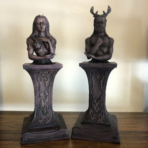 Crescent Crowned Moon Goddess and Horned God (Buy Separate or as a Set