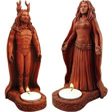 Horned God and Moon Goddess Candle Statue Set w/ Tea Light Candles