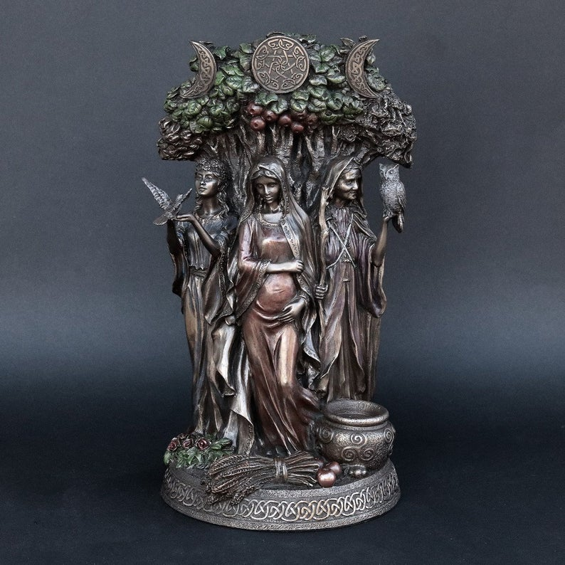 Triple Goddess Bronze Statue (Honors the Cycle of Life, Moon, Maiden, Mother, Crone)