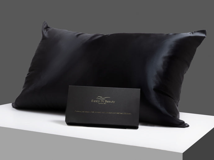 Silk pillowcase 100% Mulberry Silk 22 momme charcoal black standard size.