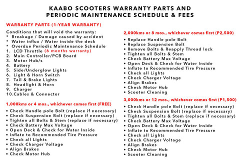 kaabo electric scooters warranty