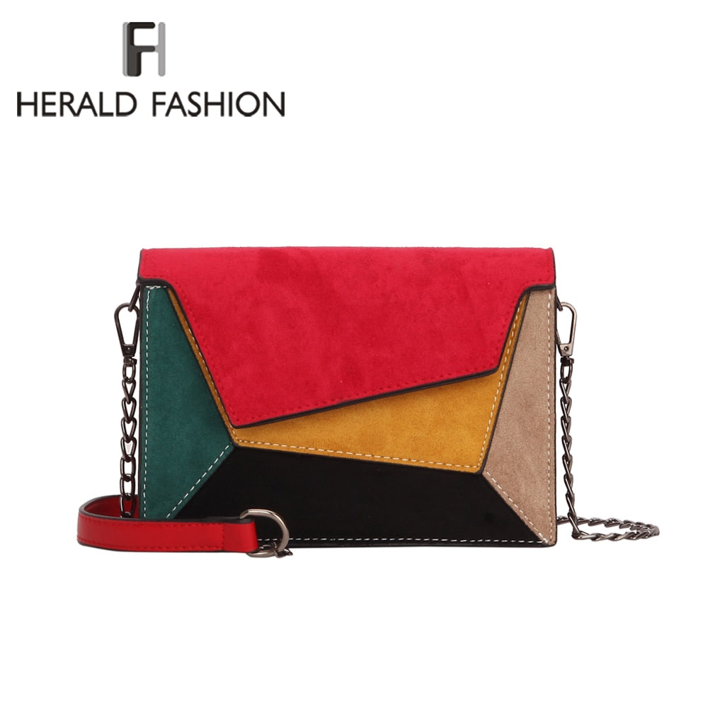 Herald Fashion Patchwork Leather Women Messenger Bag Ladies Flap Criss-Cross Chain Strap Shoulder Bag Small Ladies' Flap Bag
