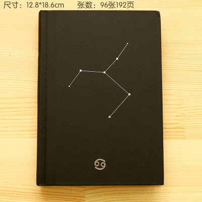 Cute notebook journal 12 constellations black book cover 96 sheets daily paper stationery agenda 2020 planner organizer livro