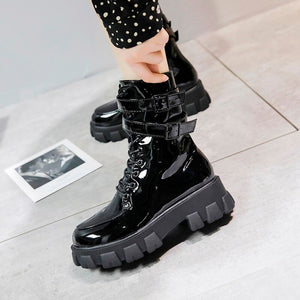 Women spring new high-heeled boots PU Martin zipper women boots with thick cross straps with classic fashion doc martens women