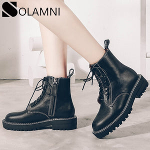 Zipper Martin Boots Women Shoes Genuine Leather Platform Ankle Boots Winter Spring Punk Shoes Warm Fur Casual Ladies Doc Booties