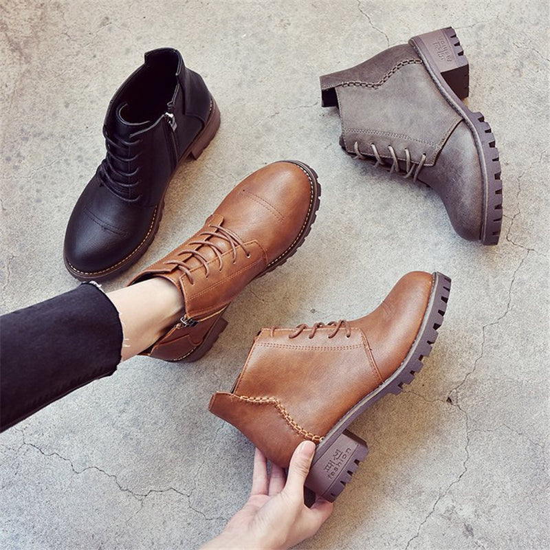 2020 Sell well Women's Winter Ankle Black Boots Woman Lace Up Vintage Booties Women Short Doc Martens Boot Fashion Ladies Shoes