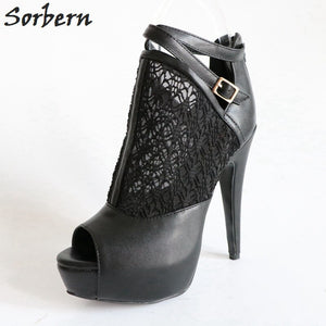 Sorbern Mesh Ankle Boots Peep Toe High Heel Autumn Lady'S Boots With Heels Platform Runway Boots Size 12 Doc Martins Black