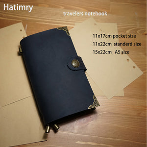 Hatimry Genuine leather travelers with vintage lock notebook diary caderno escolar defter journal books livros sketch notebook