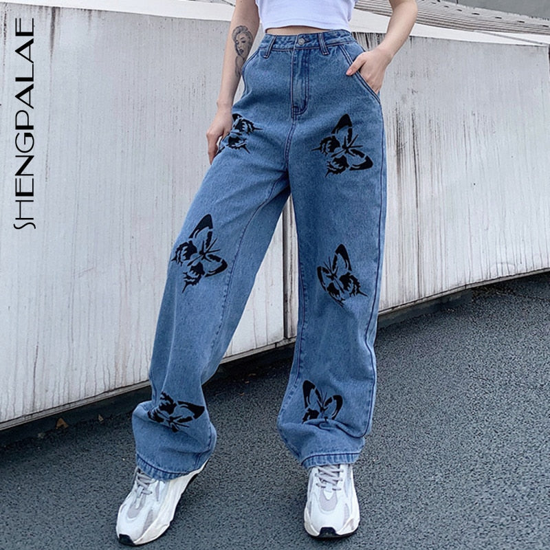 SHENGPALAE 2020 New Summer Vintage Jeans Woman Long Trousers Cowboy Female Loose Streetwear Butterfly Print Pants ZA4110