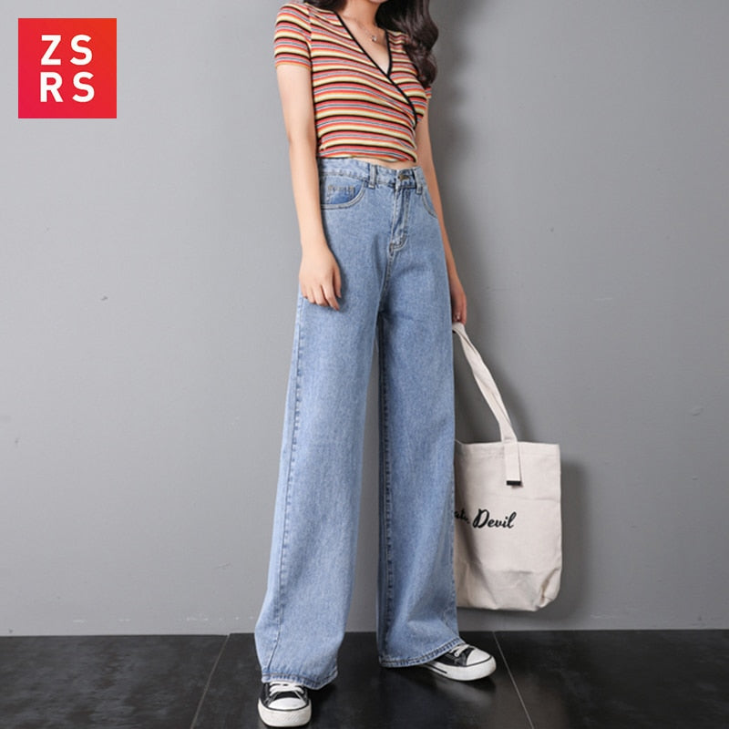 ZSRS Women Jeans Pants Leisure Loose High Waist Vintage wide leg jeans Women Jean Korean Style All-match Simple Full-length