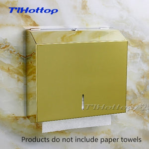 286*100*265mm Stainless Steel Manual Holder Dispenser Paper Towel Rack Mirror Cup Toilet Box FLOWER Gold