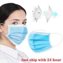 Load image into Gallery viewer, 100pcs Protection Unisex masque Disposable Non-Woven Masks Three-layer Filter Anti-dust germ Mouth Nose face Mask