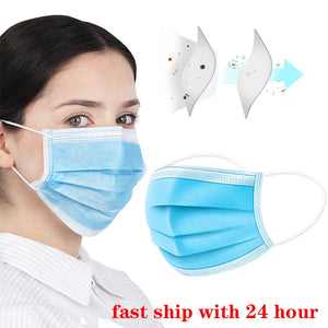 100pcs Protection Unisex masque Disposable Non-Woven Masks Three-layer Filter Anti-dust germ Mouth Nose face Mask