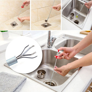 Drain Sewer Dredge Pipeline Hook Household Kitchen Sink Drain Blockades Hair Pipe Cleaning Hook Sewers Dredge Clip Scissors Tool