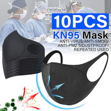 Load image into Gallery viewer, 10Pcs N95 Face Mask Sponge Black Breathable Mouth Mask Reusable Anti Pollution Face Shield Wind Anti Haze Bacteria FPP2 PM2.5