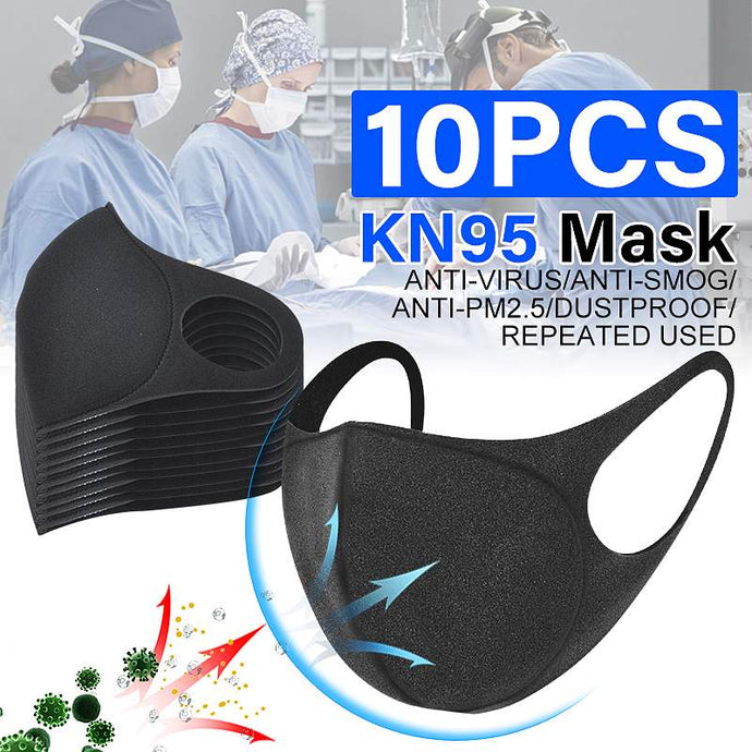 10Pcs N95 Face Mask Sponge Black Breathable Mouth Mask Reusable Anti Pollution Face Shield Wind Anti Haze Bacteria FPP2 PM2.5